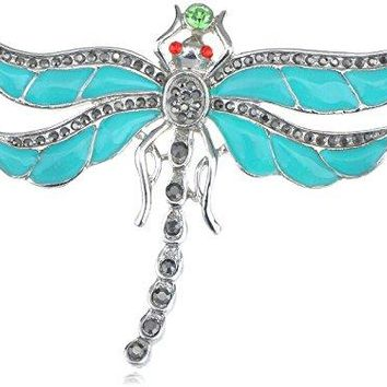 Alilang Aqua Enamel Paint Baby Blue Crystal Rhinestone Egyptian Dragonfly Pin Brooch