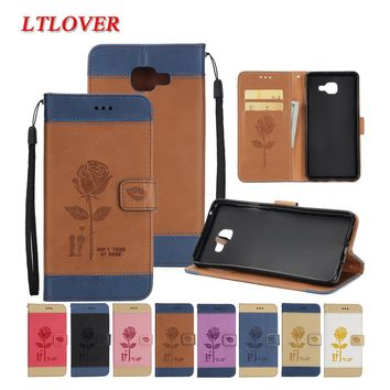Luxury Brand Embossed Rose PU Stand Leather Case For Samsung Galaxy A7 2017 A720 A720F Mobile Phone Shell Cover For A7 2017 Case