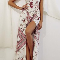 Just A Little Closer White Red Floral Pattern Sleeveless Spaghetti Strap Square Neck Double Split Casual Maxi Dress
