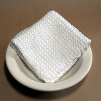 Large White Hand Knit Cotton Dishcloth, Washcloth, 9 inch square