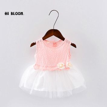 2017 Summer Little Girls Dresses Toddle Tuller Mesh With White Flowers Baby Girl Tutu Dress Kid's Clothes Princess Dress Hot