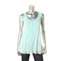 Style & Co. Womens Jersey Lace Overlay Tank Top