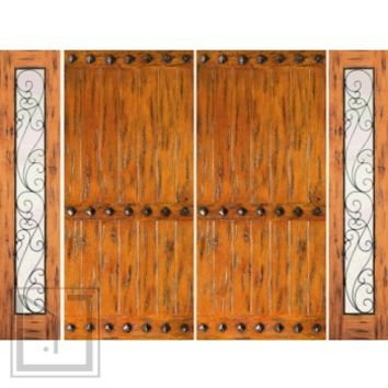 Prehung Double Door with Two Sidelites, Front, Knotty Alder