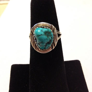 Turquoise Sterling Ring Navajo Silver Size 7 Blue Stone 925 Vintage Native American Southwestern Tribal Jewelry Gift Sleeping Beauty USA