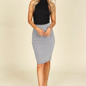 Print Pencil Skirt Black