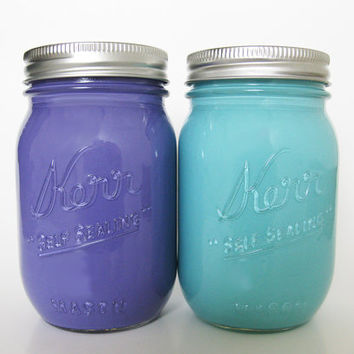 Purple and Blue Mason Jars Painted Mason by TheCraftyEngineerx
