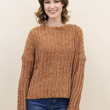 Chenille Ribbed Knit Sweater