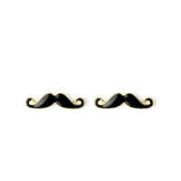 Moustache Stud Earrings Black