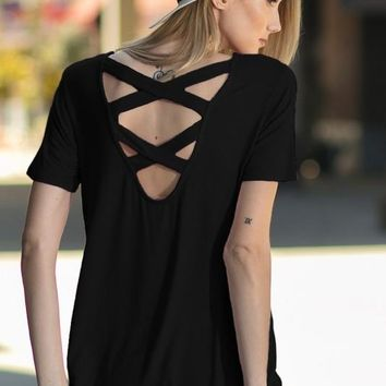 Criss Cross Back Top - Black