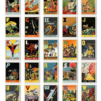 "Digital sci-fi ABC flashcards / science fiction retro comic alphabet flash cards/ downloadable / printable / 5"" by 7"" / retro colors / PDF"