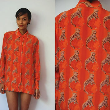 Vtg Orange Silk Panther Print Button Up LS Shirt