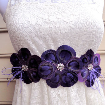 LANNA Purple and Lavender Peacock Feather Flower Bridal Wedding Sash with Purple Veil and Crystals