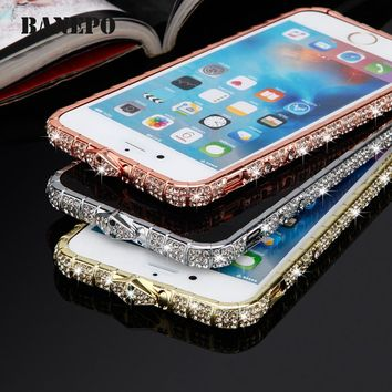 Luxury Bling Diamond Phone Case For iphone X 5 5s 6 6s plus 7 plus 8 8plus Crystal Mobile Phone Cover For Girls Women Bumper d42