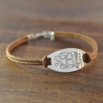 Custom vine monogram bracelet,hand stamp initial,sport cord chain,adjustable,man jewelry,Christmas