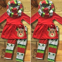 US Christmas Kids Baby Girl Outfit Clothes T-shirt Long Tops Dress+Leggings Set