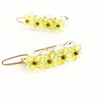 Wedding Peridot hair clips bridesmade accessories by CallOfEarth