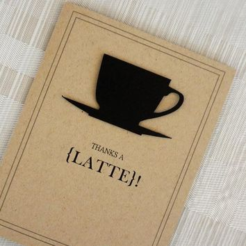 """Free shipping Funny Thank You Card - Vintage - Coffee - Kraft Recycled Paper - """"Thanks a Latte"""" greeting cards"""