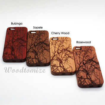 Bird on tree, iPhone 5C wood case, iPhone 5S 5 wood case, iPhone 4 4s wood case, Laser Engraving Natural Wooden cover, FREE protector