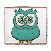 Teal Owl Woven Blanket> Teal Owl> cuteness