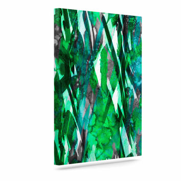 "Ebi Emporium ""Frosty Bouquet 7"" Green Abstract Canvas Art"