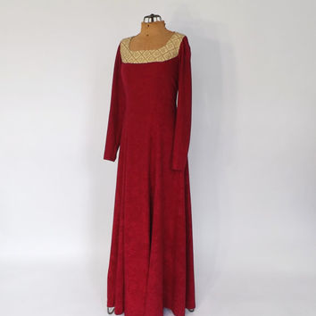 Vintage 1970s Prairie Nouveau Cranberry Red 70s Velvet Maxi Dress Medieval Renaissance Fair Gown Prom Gown Queen Guinevere Princess Dress