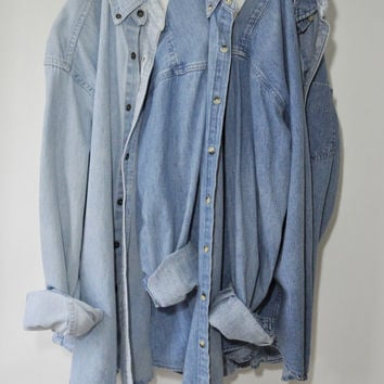 Vintage LL Bean Chambray Shirt | Vintage Oversized Flannel Plaid Shirts 90's Grunge Medium Chambray