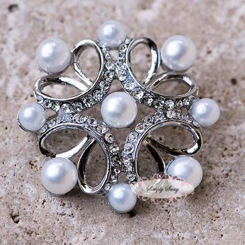Rhinestone and Pearl Brooch