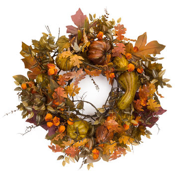 Falling Leaves Collection Oversized Fall Wreath w/Gourds/Berries