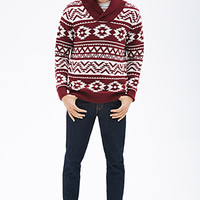 Southwestern-Patterned Shawl Collar Sweater Burgundy/Cream