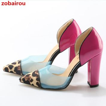 Zobairou Polka Dot PVC Leopard Pumps Candy Colors Pointed Toe Chunky High Heels Runway Design Party Dress Leopard Shoes Woman