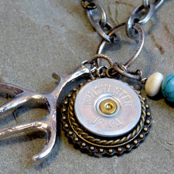 Shotgun Shell Assemblage Charm Necklace