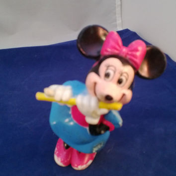 Minnie Mouse Toy, Playing the Flute.  Walt Disney Collectible. An Adorable Well Loved Little Animal.