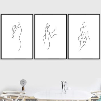 Nordic Minimalism Line Sketch Wall Art Canvas Painting Posters And Prints Black White Wall Pictures For Living Room Wall Decor