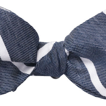 Navy Linen Stripe Bow Tie by Southern Proper