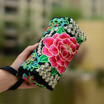Women clutch bag embroidery peony azalea butterfly small mobile phone bag