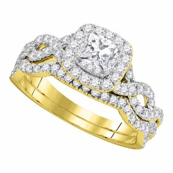 14kt Yellow Gold Women's Princess Diamond Twist Bridal Wedding Engagement Ring Band Set 1.00 Cttw - FREE Shipping (US/CAN)