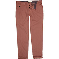 River Island MensDark pink rolled up slim chinos