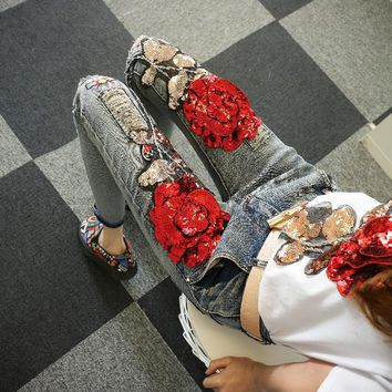 Fashion Rose Flower Sequin Pattern Tack Bead Irregular Worn Ripped Long Jeans Small Foot Pants-1