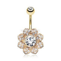 Golden Avens Flower Sparkle Belly Button Ring (Clear)