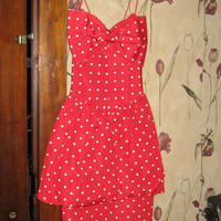 vintage 1980s white polka dot red satin acetate party dress with bubble overskirt sz 3-4