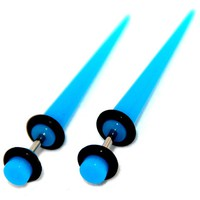 Turquoise Blue Acrylic Fake Cheaters Faux Illusion Tapers Stretchers Expanders 6G Gauge 4mm 1 Pair Small
