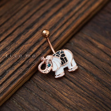 belly ring belly button ring belly button jewelry white elephant boho bohemian jewelry