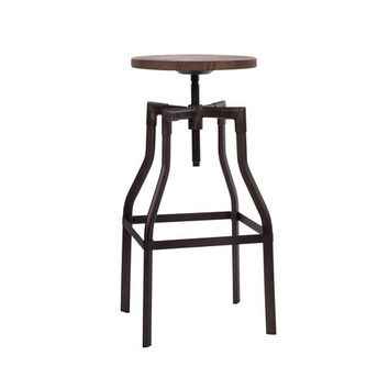 "Machinist Rustic + Wood Seat Adjustable Barstool 26""-32"" LS-9201-RMTW"