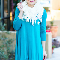 DANCE THE NIGHT AWAY TUNIC IN TEAL