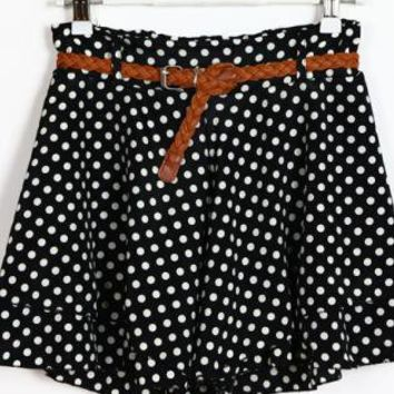 Polka Dot High-Waist Shorts with Brown Belt