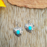 Concho Turquoise Heart Earrings