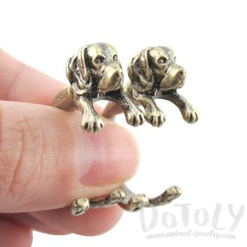 Fake Gauge Earrings: Realistic Beagle Puppy Dog Shaped Two Part Stud Earrings in Brass