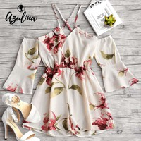 AZULINA Flower Print Flare Sleeve Cami Romper New Sexy Chiffon Playsuit Women Rompers 2018 Summer Beach Loose Overalls Jumpsuits