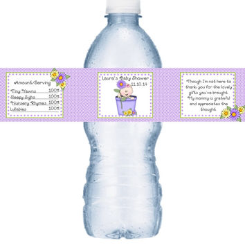 Spring Baby Shower Water Labels