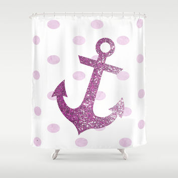 GLITTER ANCHOR AND DOTS in PINK Shower Curtain by Colorstudio